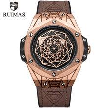 RUIMAS Men's Leather Quartz Watches Top Brand Luxury Army Mi