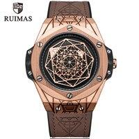 RUIMAS Men's Leather Quartz Watches Top Brand Luxury Army Military Sports Wristwatch for Man Relogios Masculino Clock 533G