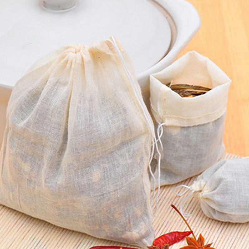 10pcs 8*10cm Cotton Drawstring Straining Tea Cooking Separate Spice Filter Bag