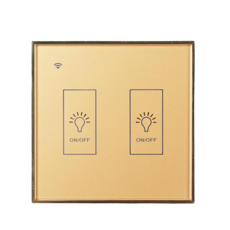 EU WiFi Smart 2 Gang Light Wall Switch Waterproof Gold Glass Panel Touch Screen Sensor Switch APP For Amazon Alexa Google Home sonoff t1 smart wifi rf app touch control wall light switch 1 2 3 gang 86 type uk panel wall touch light switch alexa nest