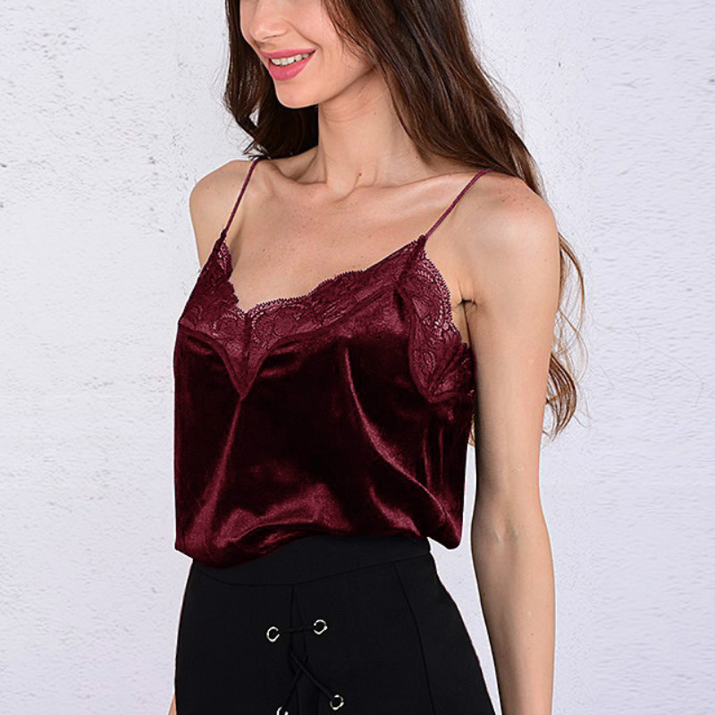 Sexy-Vest Blue Off-Shoulder Women's Tank-Top Stitching Lace Black New Solid with And