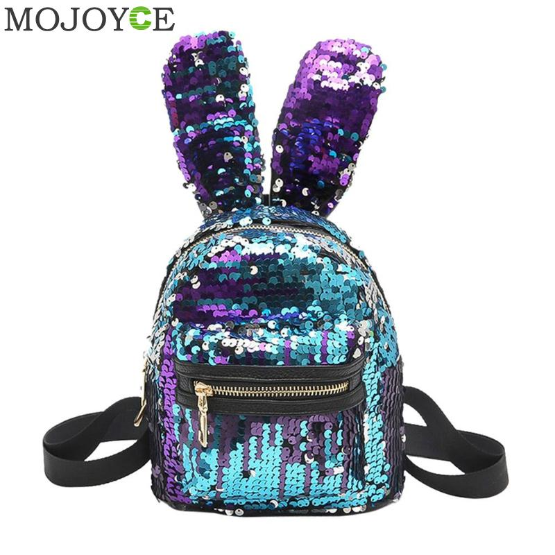 Mini Shining Sequins Backpack Cute Rabbit Ear School Bags for Baby Girls Shoulder Bag Women Baby Girls Backpack Travel Rucksacks mara s dream fashion new backpack pu leather women bag sweet girl mini shoulder bag cute rabbit ear sequins rivet small backpack