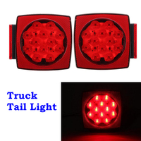 Hot Sale One Pair LED Submersible Square Trailer Truck Tail Light Lamp Mount Free Shipping
