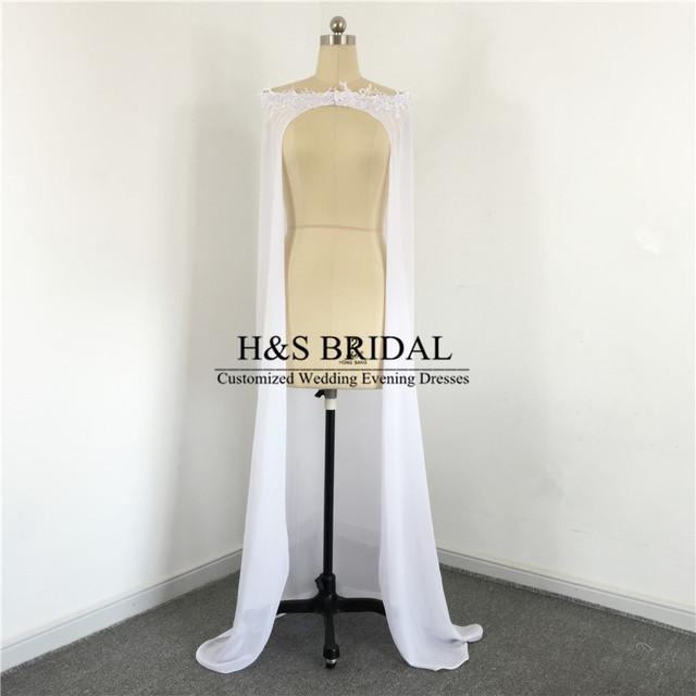 2017 Novo Chegada Casaco Longo Casamento Chiffon Branco Do Laço Apliques Nupcial Capes Wraps Vestidos de Noiva Fotos Reais