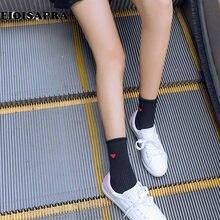 [Eioisapra] borda amor padrão meias feminino reto estilo faculdade meias engraçadas estudantes kawaii sokken 5 cores calcetines mujer