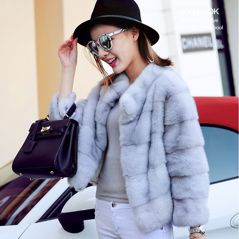 BFFUR Short Mink Coat Capped Woman Winter 2018 Outerwear Whole Skin Fashion Slim Solid Casual Park With Natural Fur Winter Dress