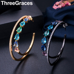 ThreeGraces Trendy Yellow Glod Cubic Zirconia Mystic Rainbow Crystal Large Wedding Party Double Hoop Earrings for Brides ER320