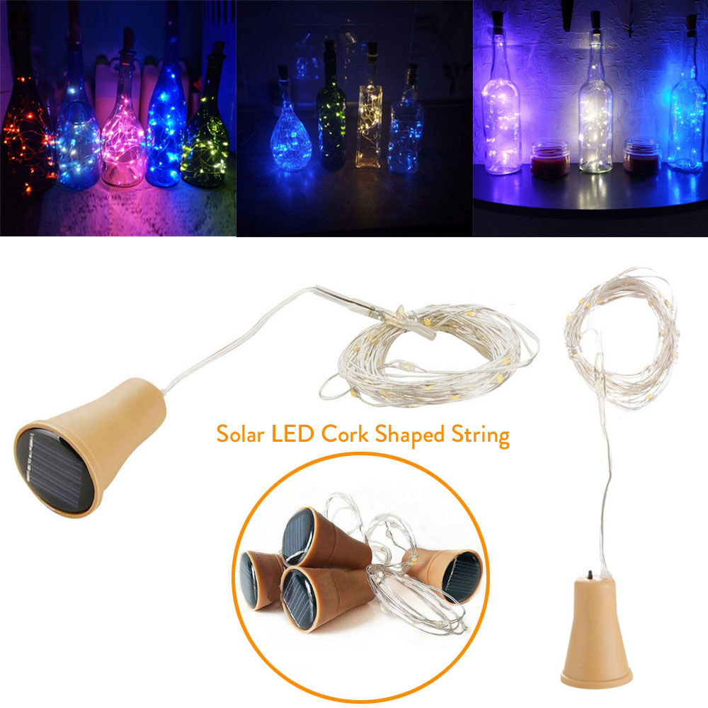 1M 1.5M 2M Solar Cork Wine Bottle Stopper Copper Wire String 20LEDs 15LEDs 10LEDs Lights Fairy Lamps Outdoor Party Decoration