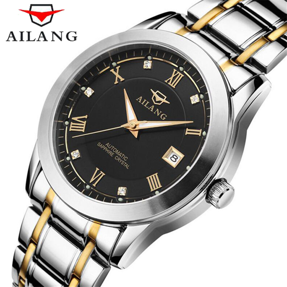 relogio masculino AILANG Automatic Self-Wind Luxury Men Sport Watch Mens Business Date Luminous Waterproof Full Steel Wristwatch mens watches top brand luxury guanqin watch men automatic self wind luminous clock sport full steel wristwatch relogio masculino