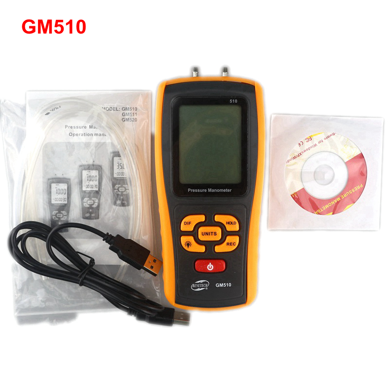 GM510 Handheld Digital Pressure Meter Manometer +/- 10kPa Pressure Gauge Tester USB Manometro portable lcd digital manometer pressure gauge ht 1895 psi air pressure meter protective bag manometro pressure meter