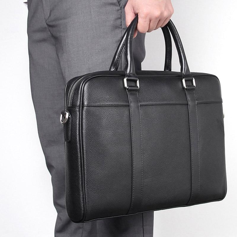 Nesitu High Quality A4 Black Genuine Leather 14'' Laptop Office Men Briefcase Portfolio Business Shoulder Messenger Bags M7401