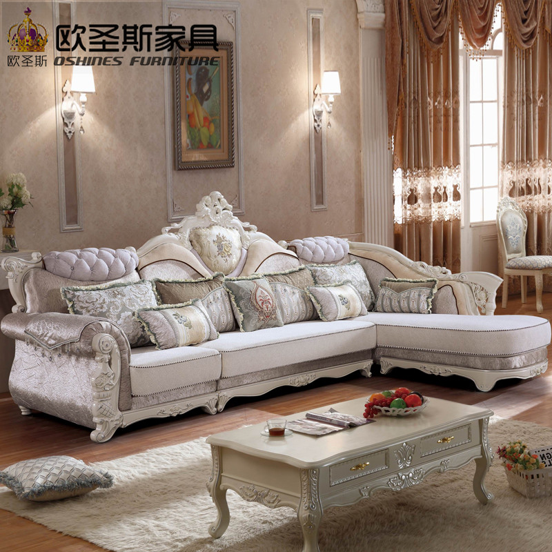 Luxury L Shaped Sectional Living Room Furniutre Antique Europe Design  Classical Corner Wooden Carving Fabric Sofa Sets 603