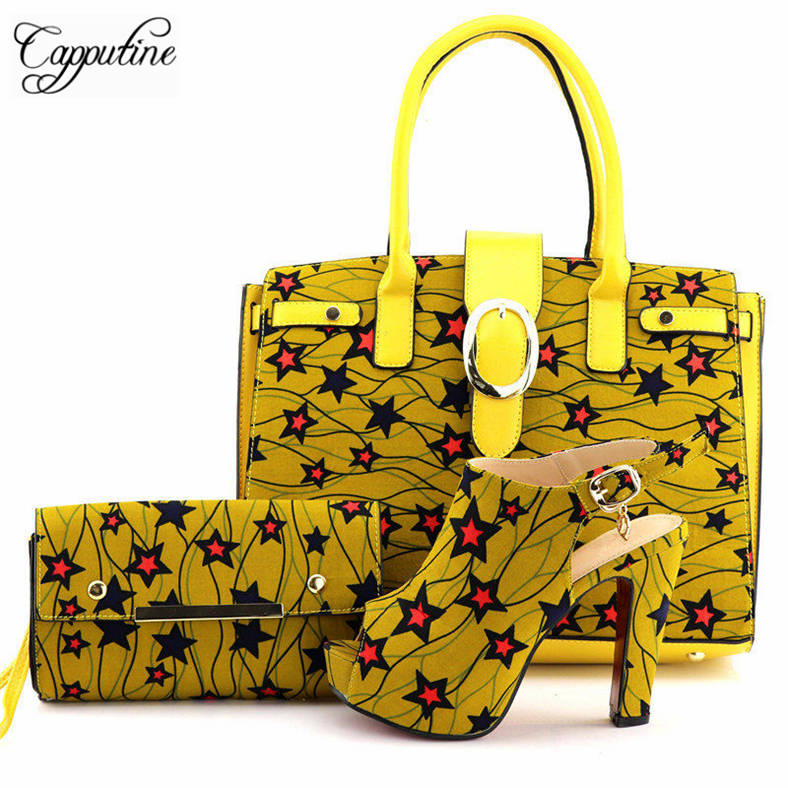 Capputine 2018 Italian Wax Fabric Made Shoes And HandBag Set African Style Women Pumps Shoes And Bag To Match For Wedding Dress capputine african style shoes and bag to match high quality italian shoes and bag set nigerian party shoe and bag set wedding