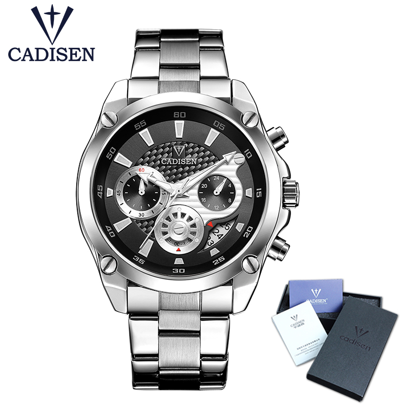 Top Brand Luxury CADISEN Mens Watch Full Steel Sport Watches Fashion Quartz Military Wrist Watch Relogio Masculino Waterproof mens watches top brand luxury cadisen military sport quartz chronograph watch men waterproof full stainless steel wrist watch