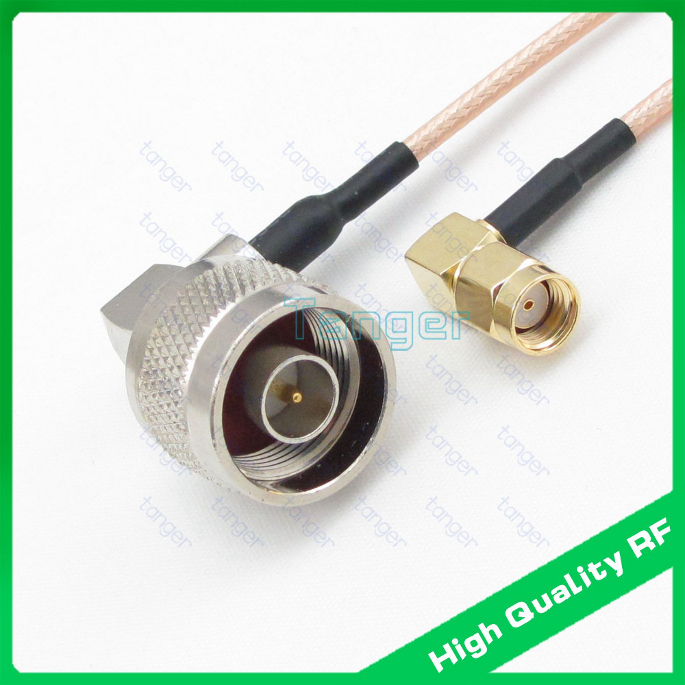 20in RF cable N male plug to RP-SMA male double right angle connector 20inch 50cm RG316  ...