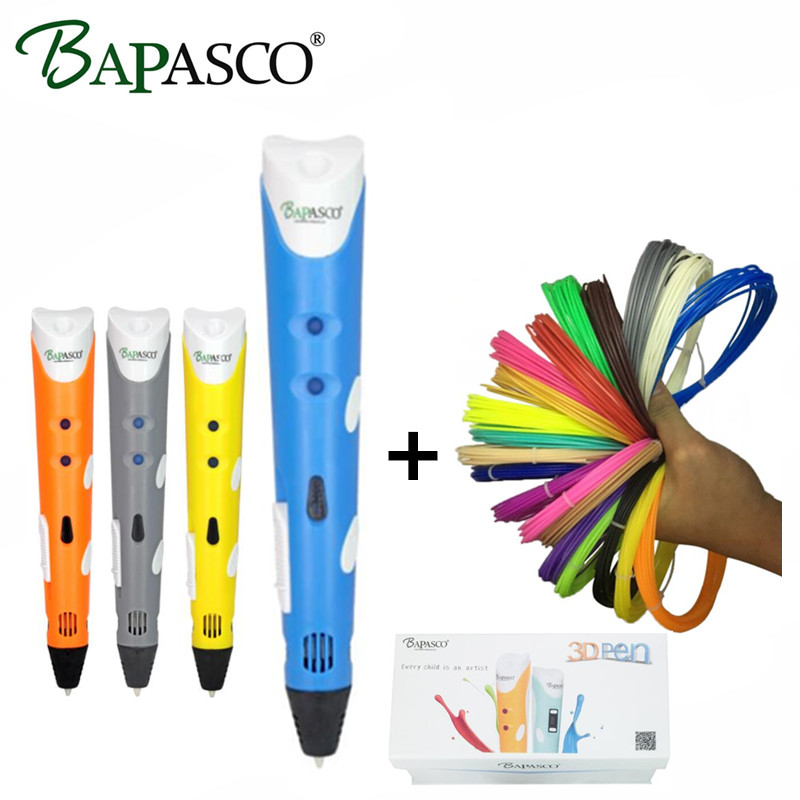 BAPASCO RP100A 3D Pen 100 Meter 20 Color ABS Filaments EU UK AU US Plug Intelligence