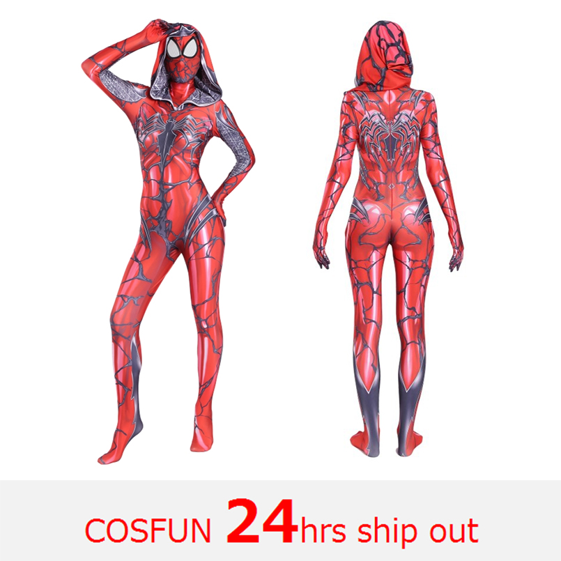 Venomized Spider-Gewn Cosplay Costumes Spandex Red Hoodies with Headgear Tights Suits Suitable for Halloween 24 Hrs Shipped Out