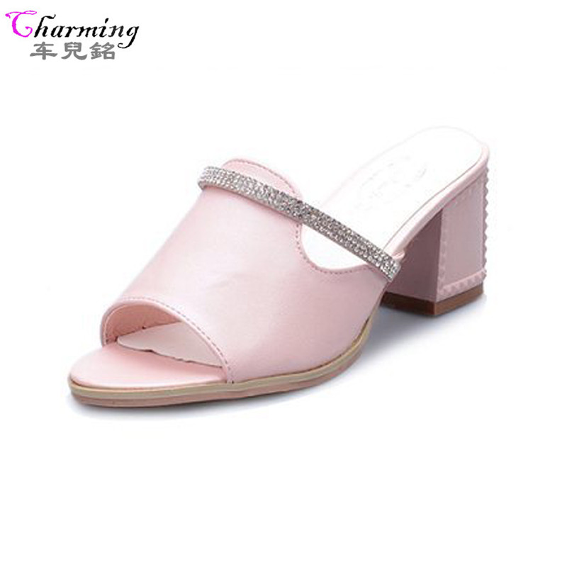 2016 HOT Women Sandals Rhinestone Ladies Summer Slippers high quality open toe Women high Heels Sandals Fashion shoes ALF121 summer women leather high heeled shoes sandals rhinestone pump sandals ladies open toe slippers plus size 33 41