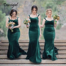 High Quality V-Neck Sleeveless Court Train Velvet Mermaid Bridesmaid Dress Long Party Dresses custom made