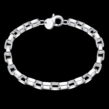 925 sterling silver men and women wedding gift exquisite gift, big long square hand foreign trade geometric silver box bracelet