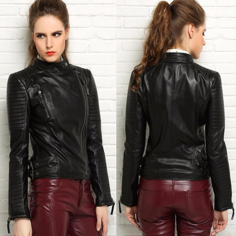 Genuine Leather Femalespring Clothing Short Design Stand Collar Motorcycle Real Leather Jackets Fashion Slim Handsome Sheepskin