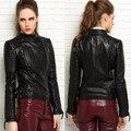 Натуральная кожа женский 2015 весна одежда короткий дизайн стенда воротник мотоцикл кожаная куртка мода тонкий красивый овчины