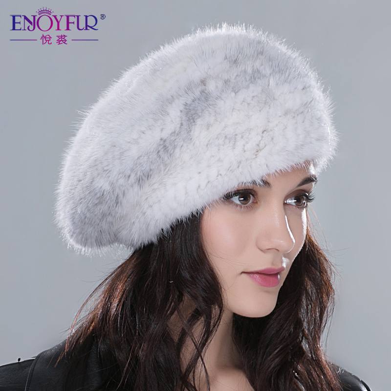 46853c65bd81f Women winter fur hats real mink fur hat thick knitted berets 2018 Russia  new arrival fashion good quality female casual caps-in Berets from Apparel  ...