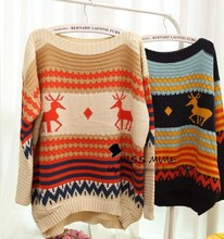 Christmas Sweater Asymmetric Color Block Striped Deer Pattern Cute Animal Pullovers Kintwear Loose Tops 0598