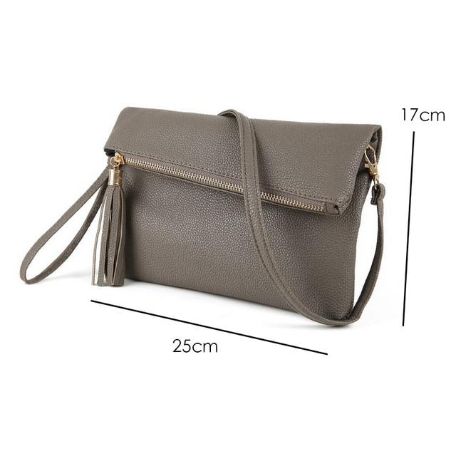 JIARUO 2018 Ladies Tassel Design Women PU Leather Crossbody Messenger bag Small Sling Shoulder Bags Fold Closure Handbag Purses