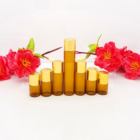 free shipping 2/3/5/10ml brown glass essential oil bottle with golden screw cap, cosmetic sample packing