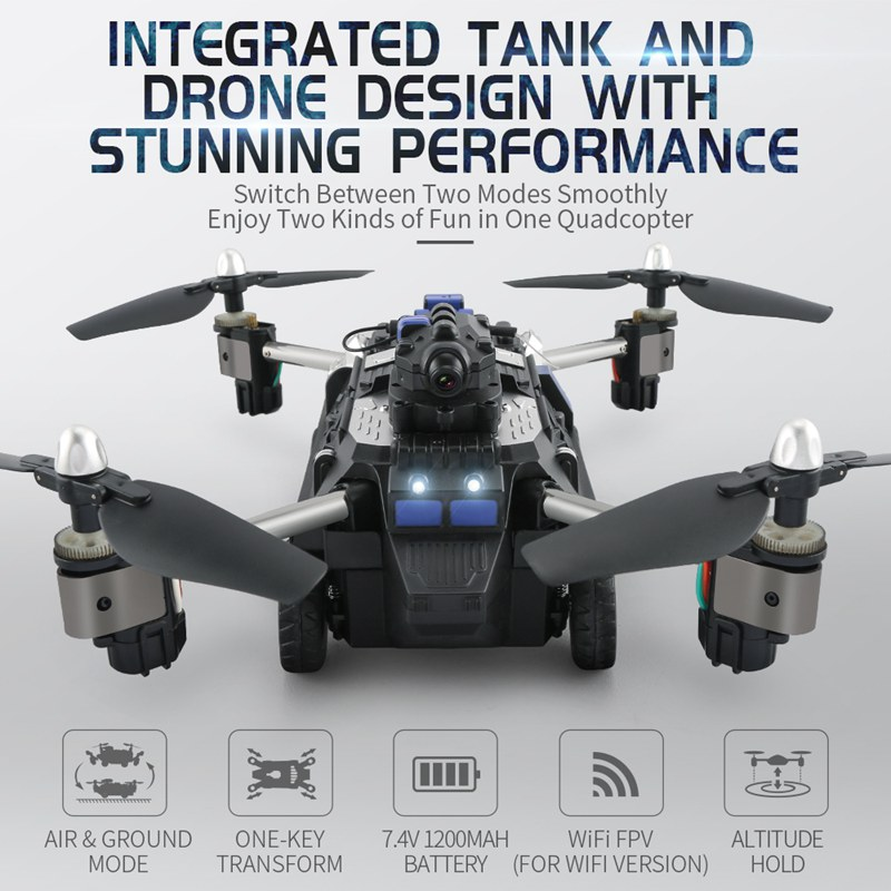 Jjrc Hybrid Tank Drone With Camera Wifi Fpv Quadcopter Rc Drones Helicopter Foldable Dron Remote Control Toy Racing Car In RC Helicopters From Toys