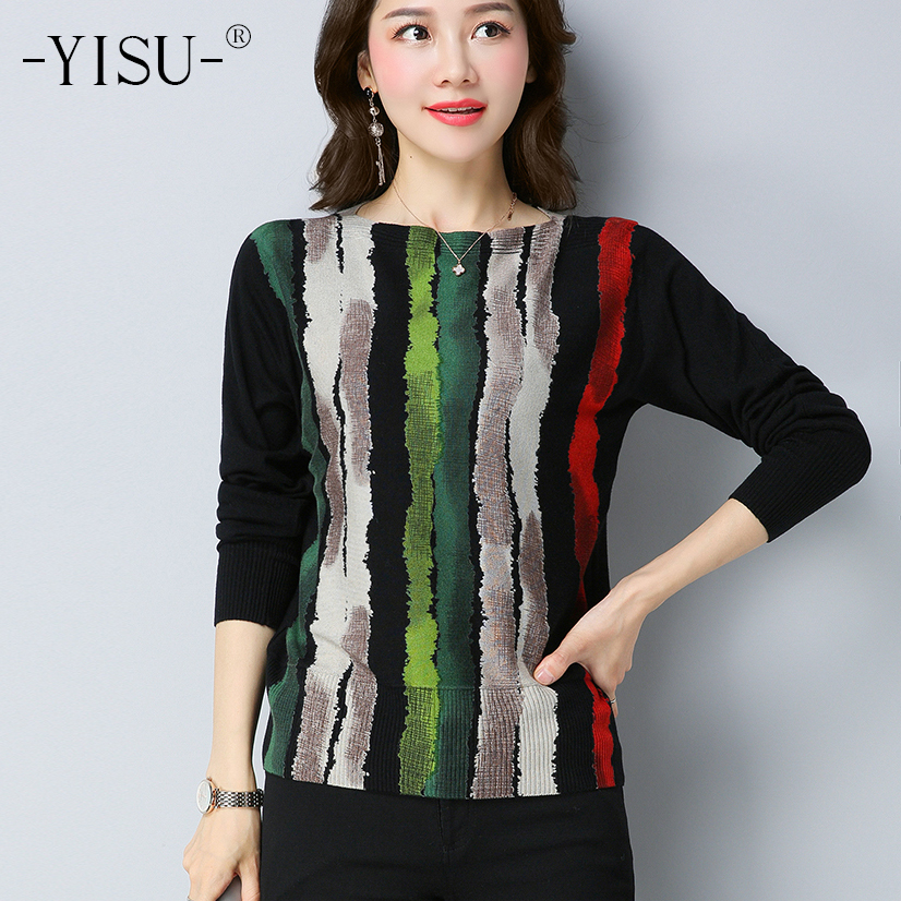 YISU Autumn Wool Sweater Striped Print Knitwear Large Size S-5XL Pullover Woman Warm Tops Female Jumper Women Knitted Sweaters