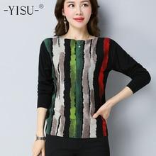 YISU Autumn Wool sweater Striped Print Knitwear Large size S 5XL Pullover Woman Warm tops female Jumper Women Knitted Sweaters