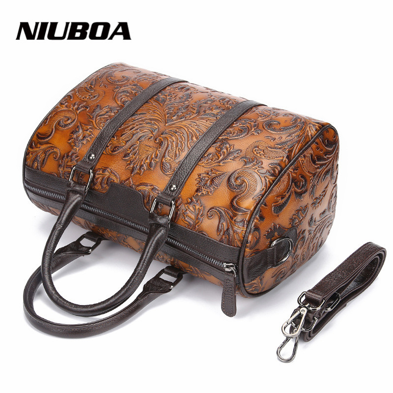 NIUBOA Women Genuine Leather Handbags Vintage Brush Floral Print Women Leather Shoulder Bags Tote Bolsa Femininas  Messenger Bag chispaulo women genuine leather handbags cowhide patent famous brands designer handbags high quality tote bag bolsa tassel c165