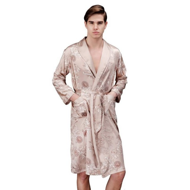 Couple Nightgown Pajamas Dragon Pattern Silk Long-Sleeved Men's Bathrobe V-Neck Strap Lace Sexy Pajama Set DQ02
