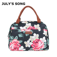 купить JULY'S SONG Portable Lunch Bag Thermal Food Insulated Cooler Pouch Waterproof Lunch Tote Picnic Food Storage Container Organizer по цене 554.37 рублей