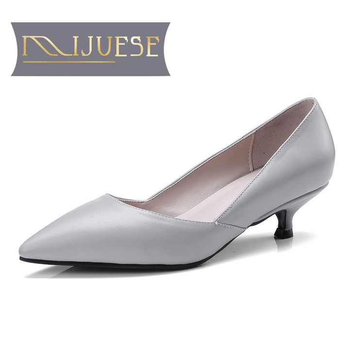 MLJUESE 2018 women pumps Genuine leather autumn spring gray color all match shoes pointed toe high heels women size 34-41