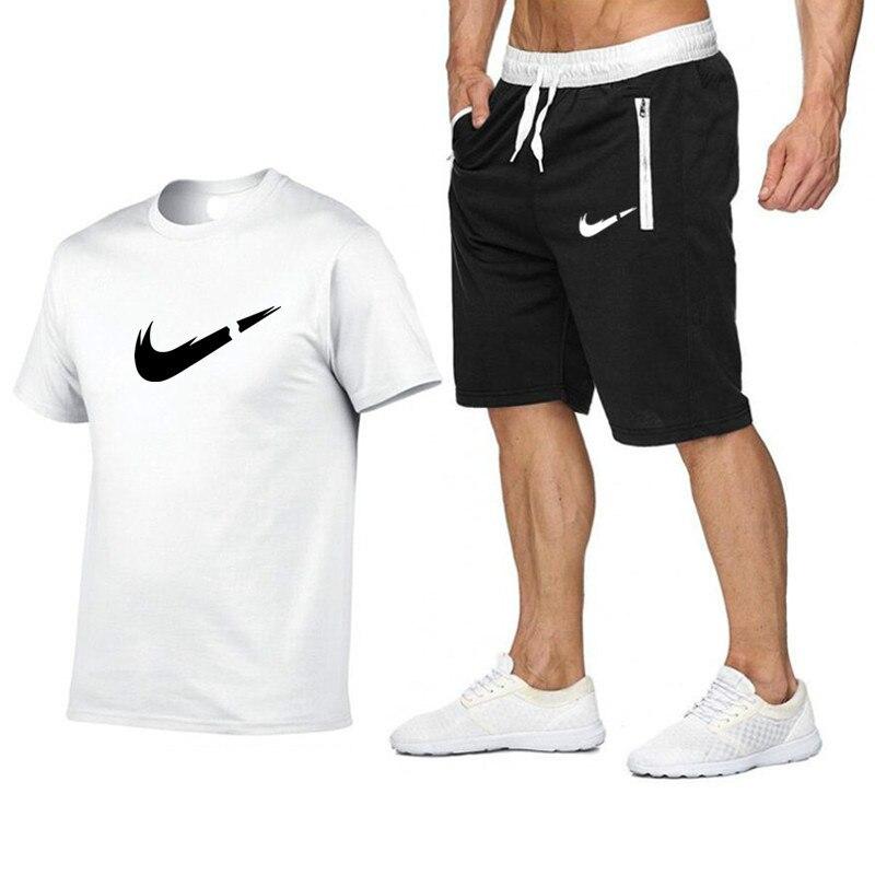 2019 Summer Men's T-shirt + Shorts Suit Printing Men's Brand Clothing Two-piece Suit Men's Sportswear Gym Shorts Suit