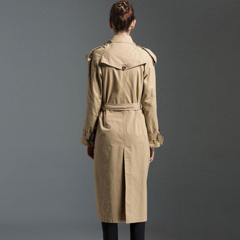 Coton Trench Mode Printemps Dames 2018 Khaki Quente Par Manteaux En Longue Affaires Tranchée Inverno Femmes Burdully Angleterre w0ATg