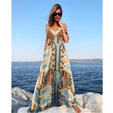 2019 Boho Chic V Neck Tassel Long Dresses Casual Summer Sleeveless Beach Maxi Dress Women Spaghetti Straps Printed Slip Dress цена