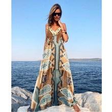 2019 Boho Chic V Neck Tassel Long Dresses Casual Summer Sleeveless Beach Maxi Dress Women Spaghetti Straps Printed Slip Dress