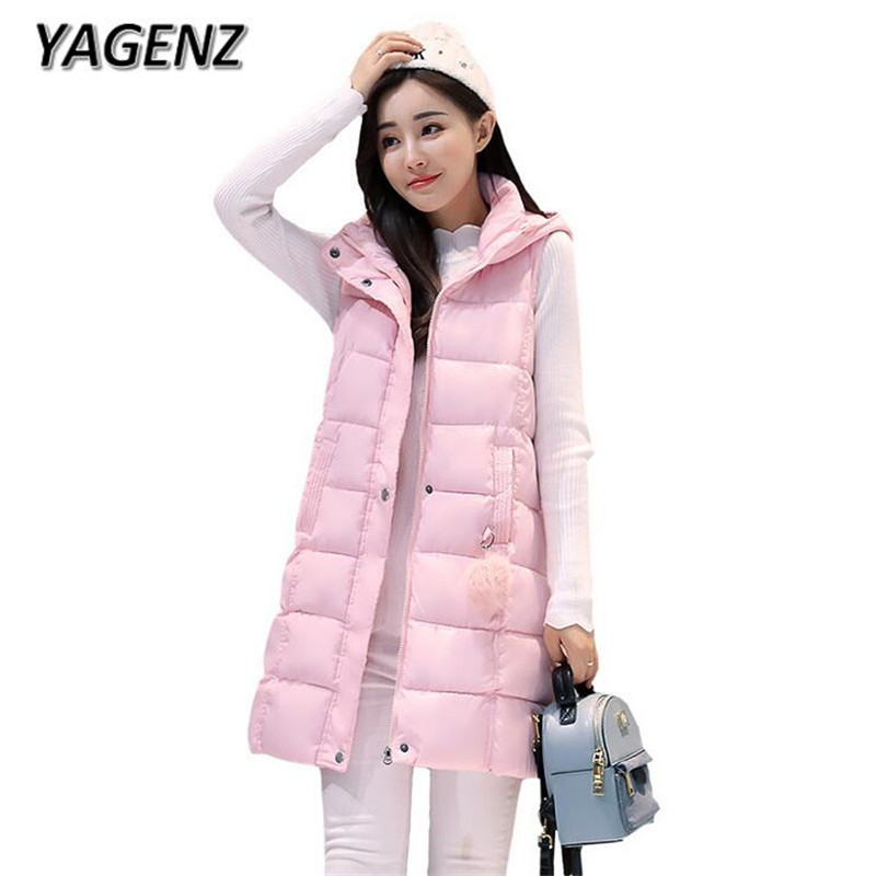 YAGENZ2017 Winter Warm Women Long Vest Plue size 3xL Loose Thick Cotton Sleeveless Waistcoat Casual Hooded Female Vest Jacket