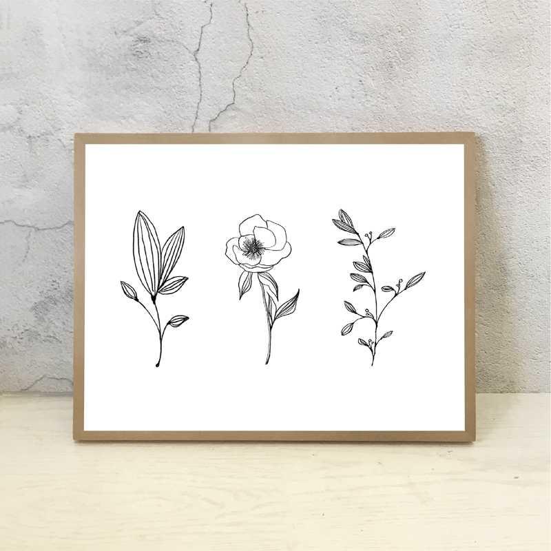Minimalist Botanik Baski Minimum Duvar Sanat Kalem Yaprak