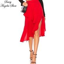 SAUCY ANGELIA/Женская юбка, модная, сексуальная, с оборками, с вырезами, ноги, асимметричное, облегающее, нижняя часть одежды, повседневные юбки трапециевидной формы, уличная юбка