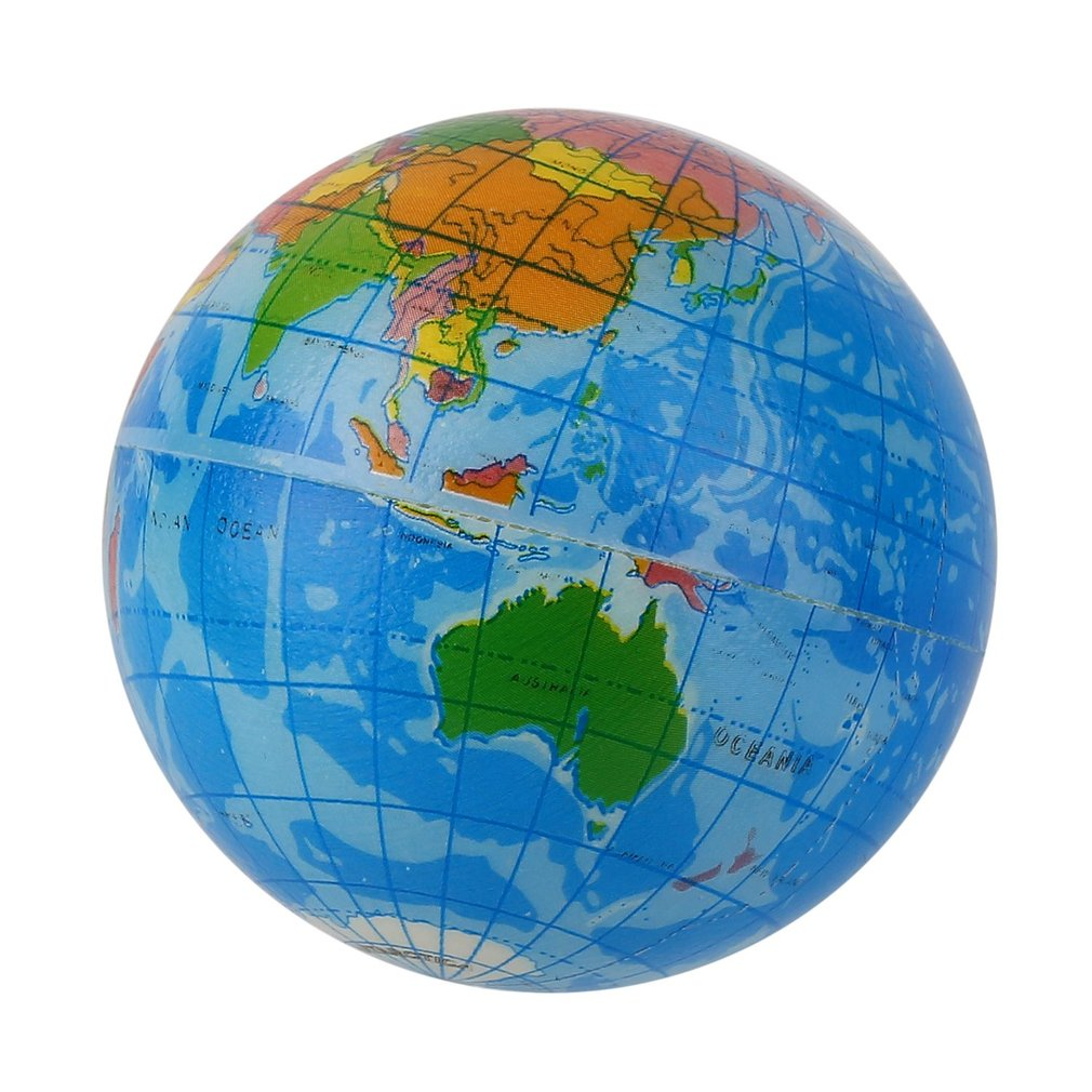 Blue World Map Foam Earth Globe Stress Relief Bouncy Ball Atlas Geography Toy Encourage Children To Exercise