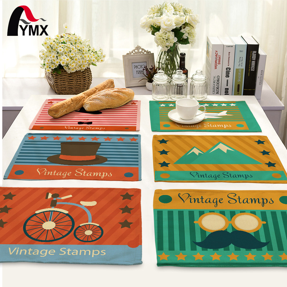Vintage Stamps Table Napkins Serviette de Table Home Dinner Polyester Table Mat Pad Cloth Napkins Wholesale Price Factory