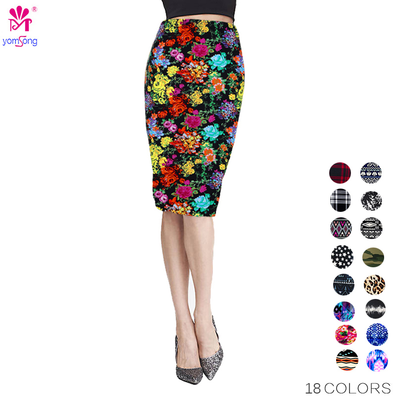 Yomsong New Fashion Wholesale Summer Women's Pencil Skirt High Waist Floral Printing Midi Skirt Saia Women Casual Skirt 204