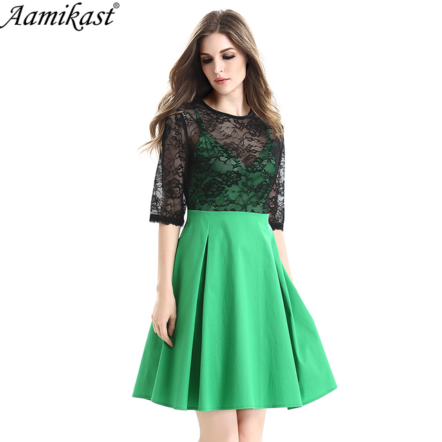 Aamikast Womens Elegant Sexy Hollow Out Lace Vintage O-Neck Knee-Length  Casual Wear To Work Office Party A-Line Skater Dress cec88ace7a95