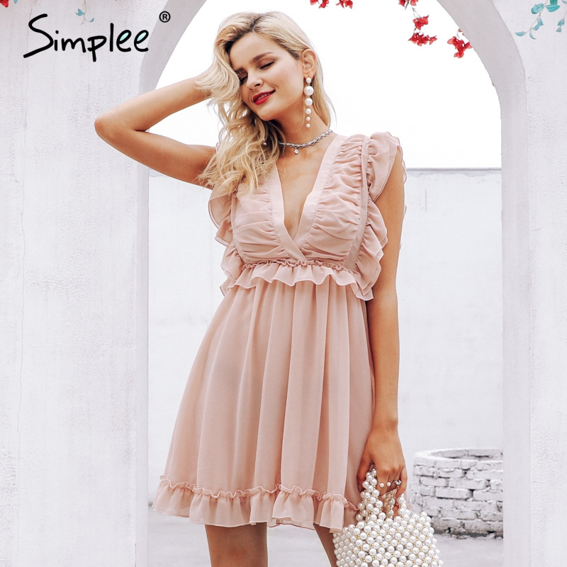 CUERLY Elegant pleated chiffon women dress Sexy ruffle v neck summer dress Ruched back lace up lining party dresses vestidos in Dresses from Women 39 s Clothing