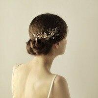 Handmade Hair Combs Women S Hair Jewelry Marriage Wedding Accessories Bridal Headdress Gold Floral O835